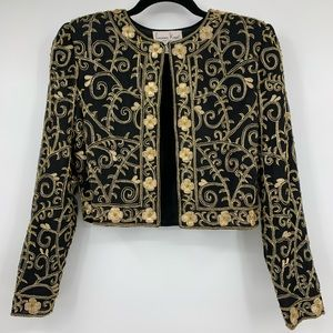 Lawrence Kazar Vintage Jacket Small Silk Cropped
